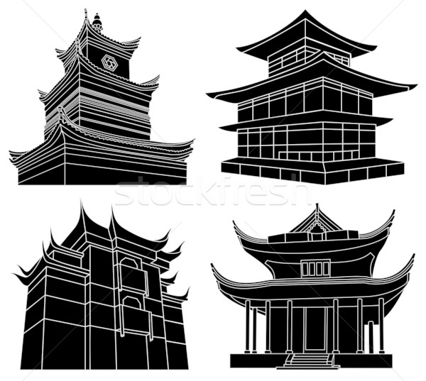 Chinese pagoda silhouettes Stock photo © ensiferrum