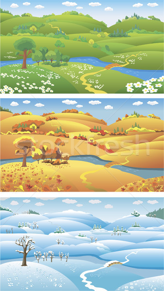Stagioni tre estate autunno inverno cartoon Foto d'archivio © ensiferrum