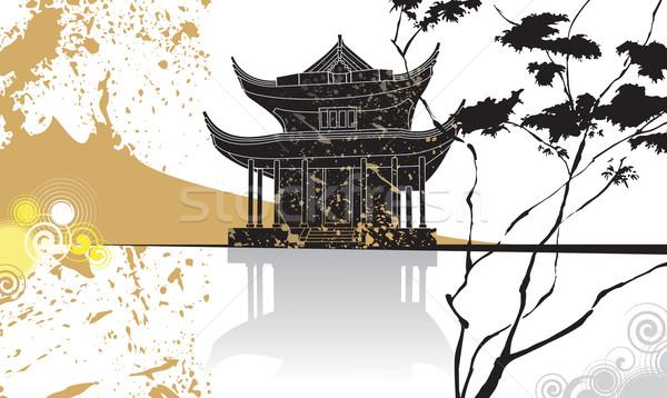 Cinese pagoda abstract elementi tradizionale pittura Foto d'archivio © ensiferrum