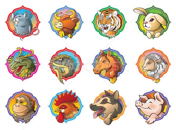 Chinês horóscopo doze animais desenho animado Foto stock © ensiferrum