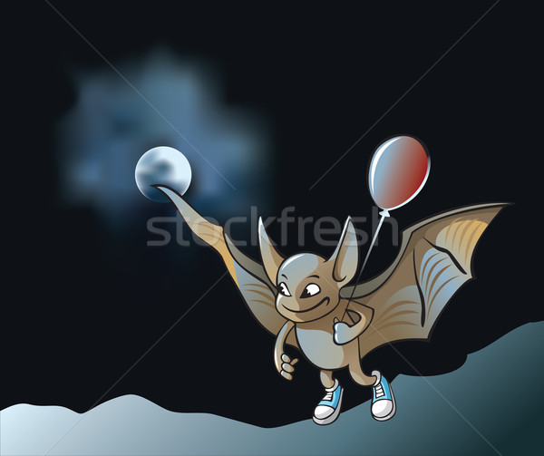 Peu vampire bat battant clair de lune Photo stock © ensiferrum