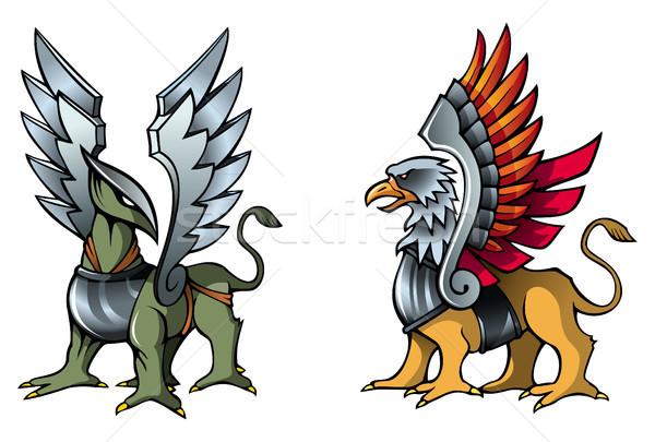 фея два фантастический броня металл крыльями Сток-фото © ensiferrum