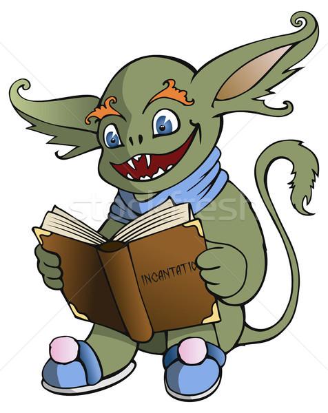Olvas mágikus könyv mosoly vicces rajz Stock fotó © ensiferrum