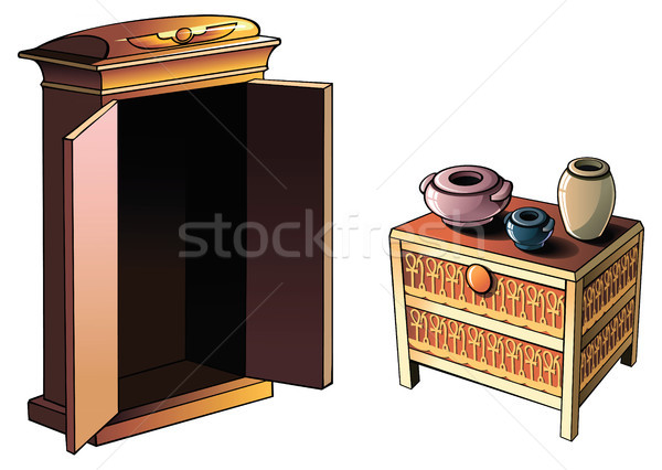 Egipcjanin meble starożytnych ceramiki drewna polu Zdjęcia stock © ensiferrum