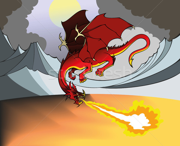 Fuoco Dragon battenti respirazione fuori panorama Foto d'archivio © ensiferrum