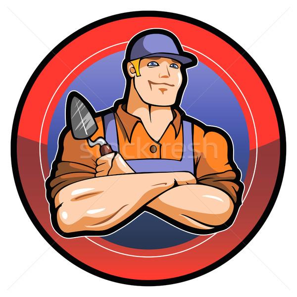 Stockfoto: Meester · werknemer · glimlachend · werk · logo · vector