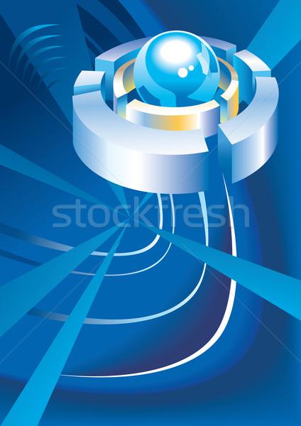 Streszczenie techno sferze metal pierścienie Zdjęcia stock © ensiferrum