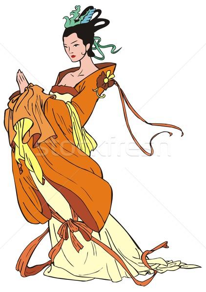Cinese tradizionale pittura carattere ragazza Foto d'archivio © ensiferrum