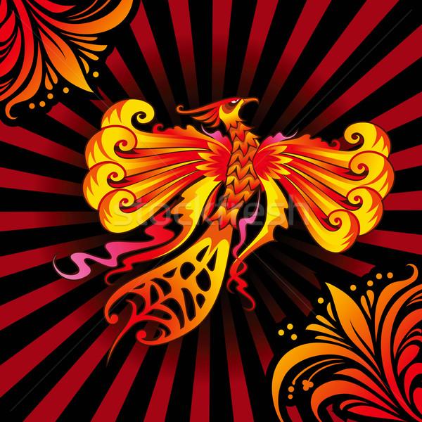 Phoenix vogel mythisch vlammende brand natuur Stockfoto © ensiferrum