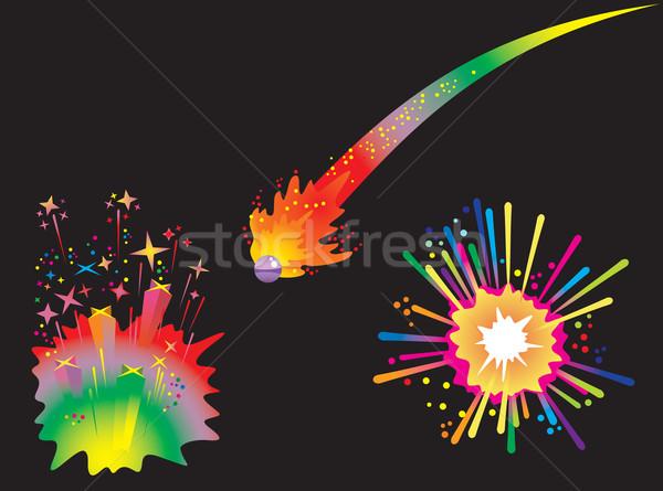 Set vacanze fuochi d'artificio cometa palla Foto d'archivio © ensiferrum