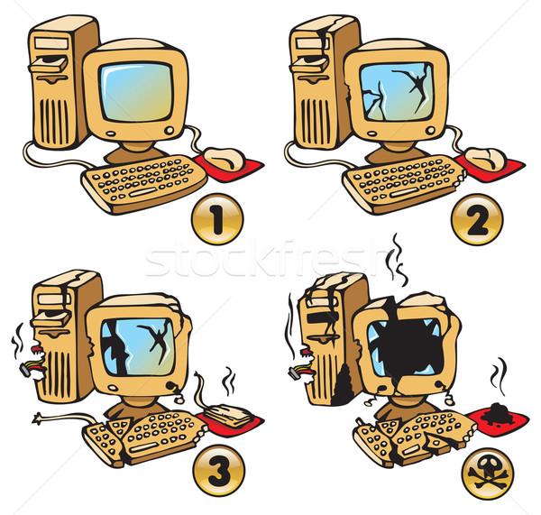 Burning Computer Stock photo © ensiferrum