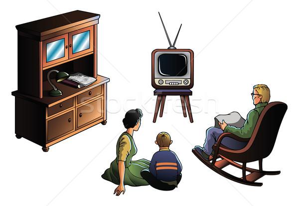 Famiglia guardare tv padre madre figlio Foto d'archivio © ensiferrum