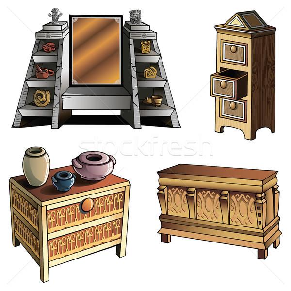 Evolução mobiliário diferente madeira caixa tabela Foto stock © ensiferrum