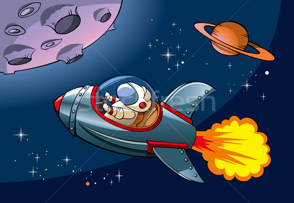 űrhajó űrhajós fény terv hold űr Stock fotó © ensiferrum