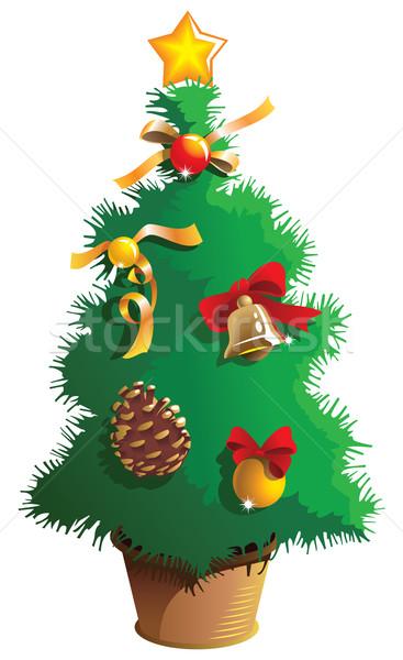 Küçük noel ağacı kova dekore edilmiş star Stok fotoğraf © ensiferrum