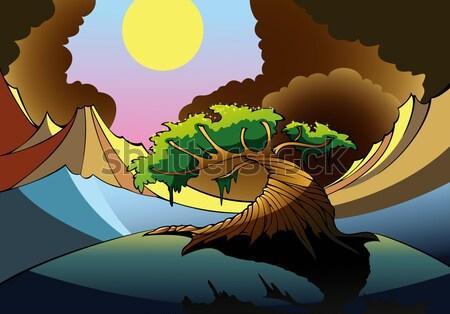 Vulkanisch grond vulkaan donkere hemel zon Stockfoto © ensiferrum
