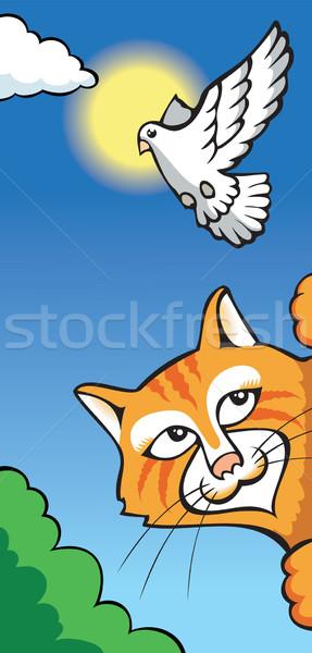 кошки голубя охота смешные Cartoon Сток-фото © ensiferrum