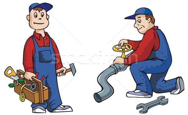 Fontanero herramientas de trabajo vector hombre - Herramientas de fontanero ...