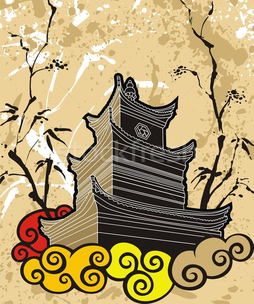 Chinese pagoda abstract background Stock photo © ensiferrum