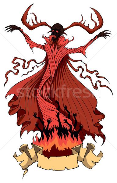 歓迎 地獄 鬼 火災 暗い 電源 ストックフォト © ensiferrum