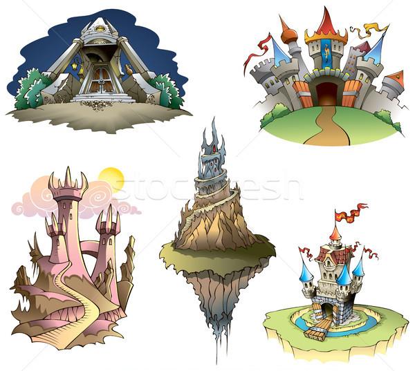 城 セット 異なる 家 風景 旅行 ストックフォト © ensiferrum
