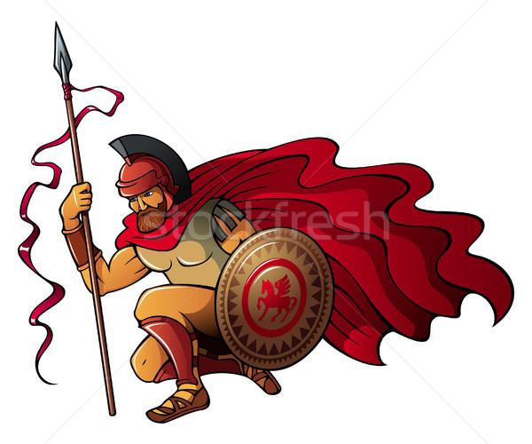 Grec guerrier spartan lance bouclier Photo stock © ensiferrum