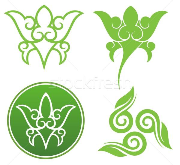 цветочный украшения Элементы дизайна лист Сток-фото © ensiferrum