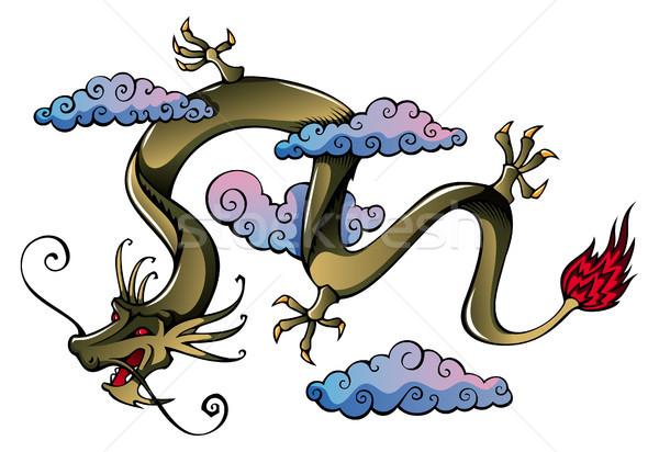 中国のドラゴン 飛行 雲 カード 動物 漫画 ストックフォト © ensiferrum