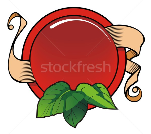 Signboard with ribbon and leaves Stock photo © ensiferrum