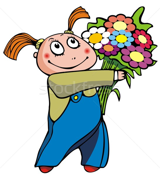 Ragazza fiori fiore bambini bambino Foto d'archivio © ensiferrum