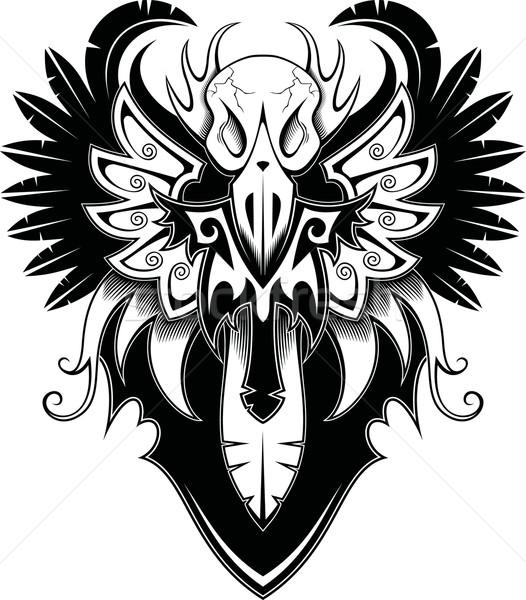 鳥 頭蓋骨 翼 入れ墨 ストックフォト © ensiferrum