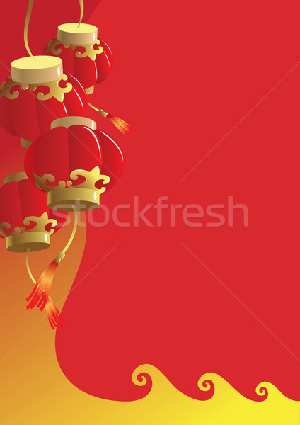 旧正月 伝統的な 赤 提灯 グリーティングカード 春 ストックフォト © ensiferrum