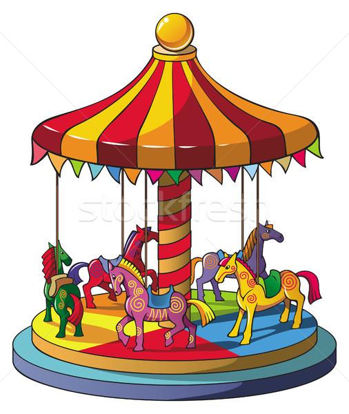 Carrousel kinderen kleurrijk paarden vrolijk gelukkig Stockfoto © ensiferrum