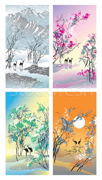 Négy évszak tél tavasz nyár ősz kép Stock fotó © ensiferrum