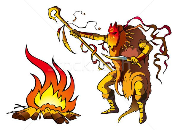 Sciamano tribali sacerdote sopra fuoco medico Foto d'archivio © ensiferrum