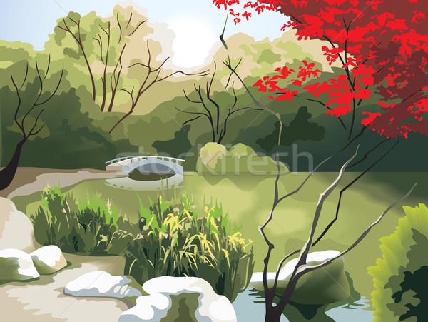 Kínai tájkép természet park díszlet tavasz Stock fotó © ensiferrum