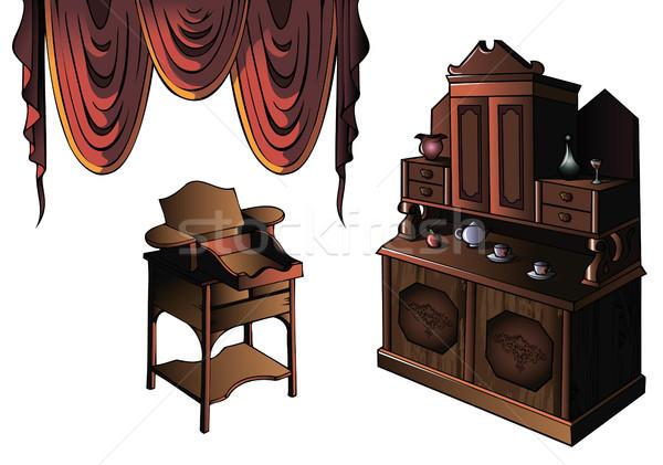 набор мебель занавес шкаф столе рано Сток-фото © ensiferrum