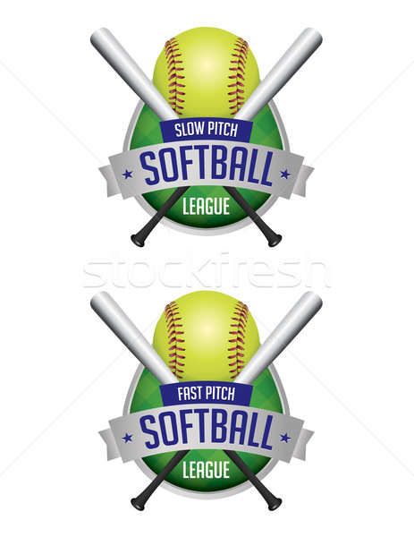 Softball ligue illustration badges vecteur eps Photo stock © enterlinedesign