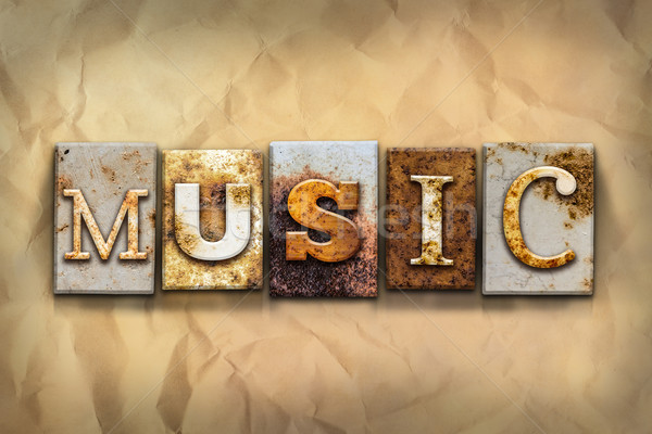 Music Concept Rusted Metal Type Stock photo © enterlinedesign