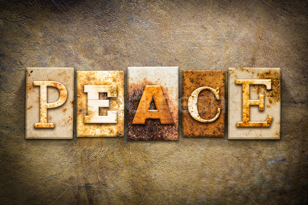 Peace Concept Letterpress Leather Theme Stock photo © enterlinedesign