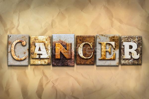 Kanker metaal type woord geschreven Stockfoto © enterlinedesign