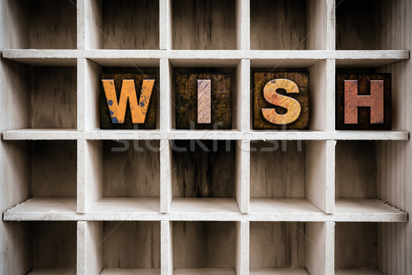 Wish Concept Wooden Letterpress Type in Drawer Stock photo © enterlinedesign