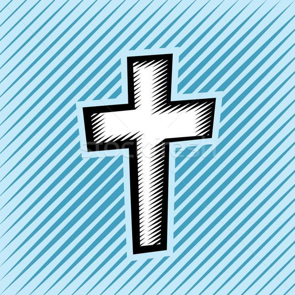 Cross Hatch Scratchboard Christian Cross Stock photo © enterlinedesign