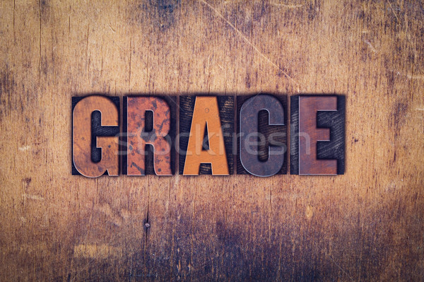 Grace Concept Wooden Letterpress Type Stock photo © enterlinedesign