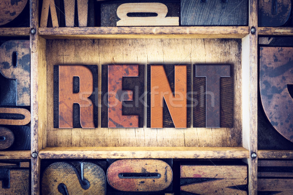 Rent Concept Letterpress Type Stock photo © enterlinedesign