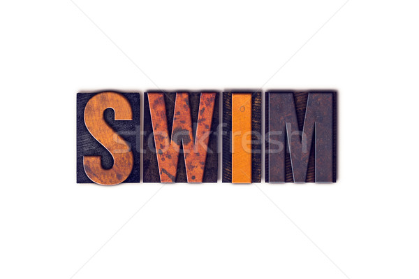 Swim Concept Isolated Letterpress Type Stock photo © enterlinedesign