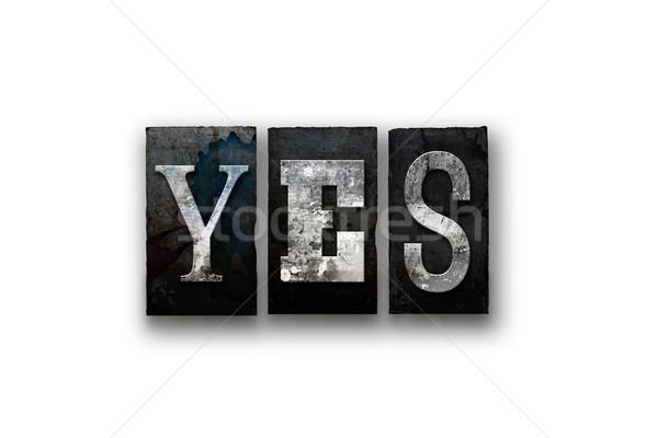 Ja geïsoleerd type woord geschreven Stockfoto © enterlinedesign