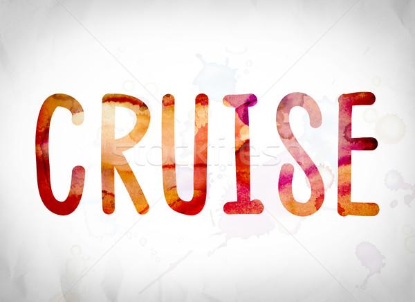 Cruise aquarel woord kunst geschreven witte Stockfoto © enterlinedesign