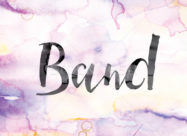 Band Colorful Watercolor and Ink Word Art Stock photo © enterlinedesign