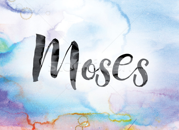 Moses Colorful Watercolor and Ink Word Art Stock photo © enterlinedesign